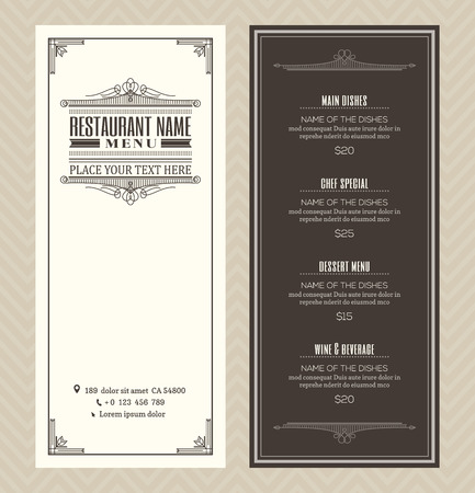 Ilustración de Restaurant or cafe menu vector design template with vintage retro art deco frame style - Imagen libre de derechos
