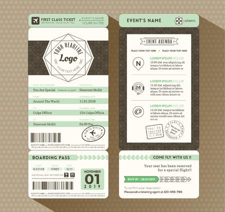 Illustration pour Hipster design Boarding Pass Ticket Event Invitation card vector Template - image libre de droit