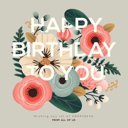 Illustration pour modern happy birthday greeting floral card - image libre de droit