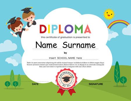 Illustration pour Preschool Elementary school Kids Diploma certificate background design template - image libre de droit