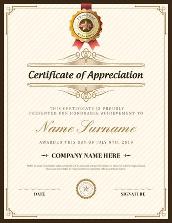Illustration pour Vintage retro frame certificate background design template - image libre de droit