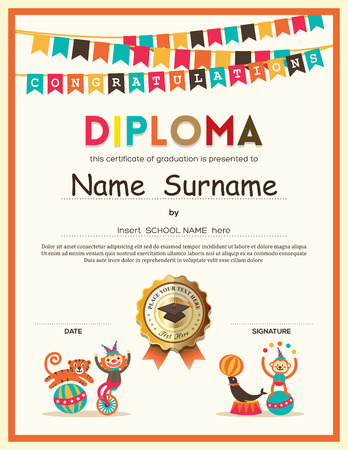 Photo pour Preschool Elementary school Kids Diploma certificate template with bunting flags background design - image libre de droit