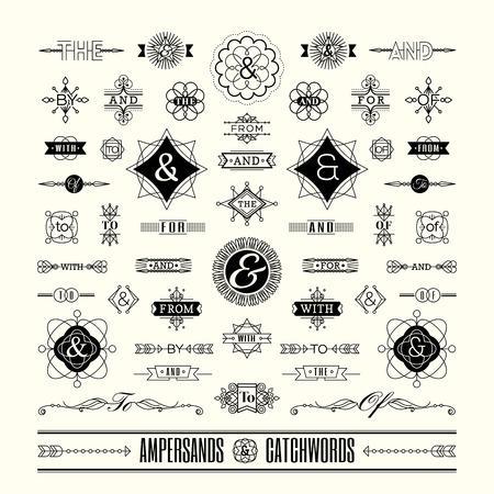 Illustration pour Set of catchwords ampersands in geometric thin line shape art deco retro vintage frame - image libre de droit