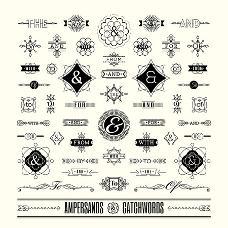 Illustration for Set of catchwords ampersands in geometric thin line shape art deco retro vintage frame - Royalty Free Image