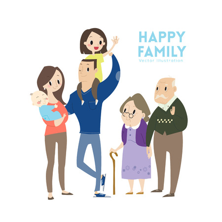 big happy family with parents children and grandparents cartoon illustration