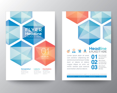 Ilustración de Abstract hexagon Poster Brochure Flyer design Layout vector template in A4 size - Imagen libre de derechos
