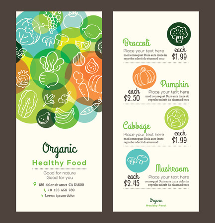 Illustration pour Organic healthy food with fruits and vegetables doodles illustration design template for menu flyer leaflet - image libre de droit
