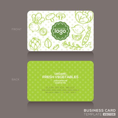 Illustration pour Organic foods shop or vegan cafe business card design template with vegetables and fruits doodle background - image libre de droit