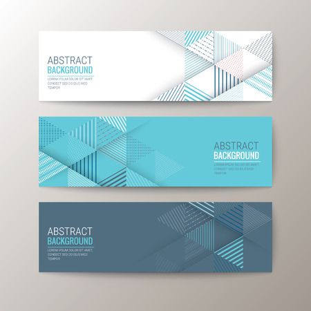 Illustration for Set of modern design banners template with abstract triangle pattern background - Royalty Free Image