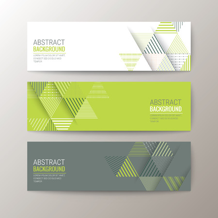 Illustration pour Set of modern design banners template with abstract triangle pattern background - image libre de droit