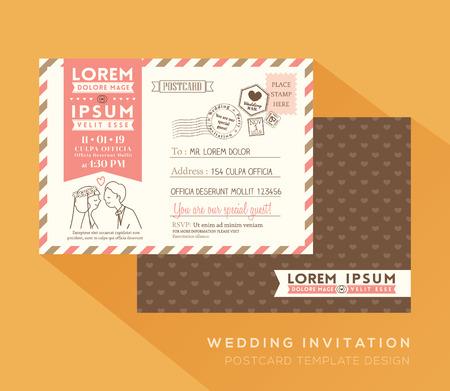 Cute postcard wedding card design Vector Template