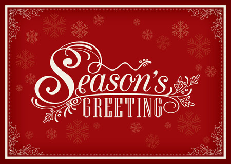 Season greeting word vintage frame design on red background