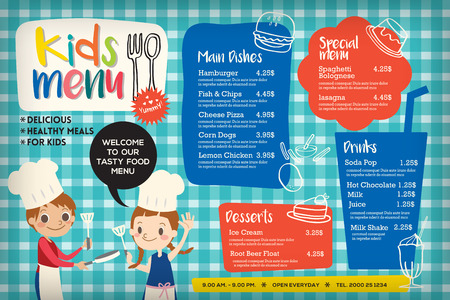 Ilustración de Cute colorful kids meal menu placemat vector template - Imagen libre de derechos