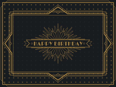 Illustration for Vintage Art Deco Happy Birthday card frame design template - Royalty Free Image