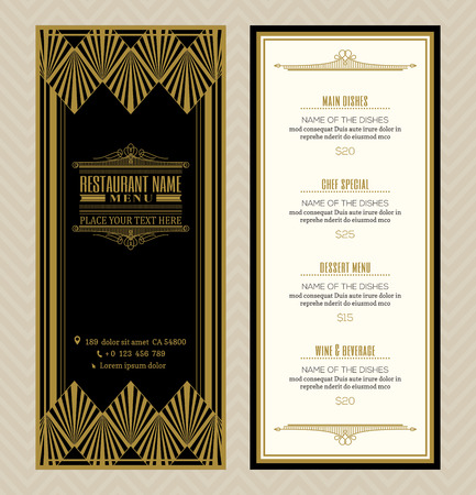 Illustration for Restaurant or cafe menu design template with vintage retro art deco frame style - Royalty Free Image
