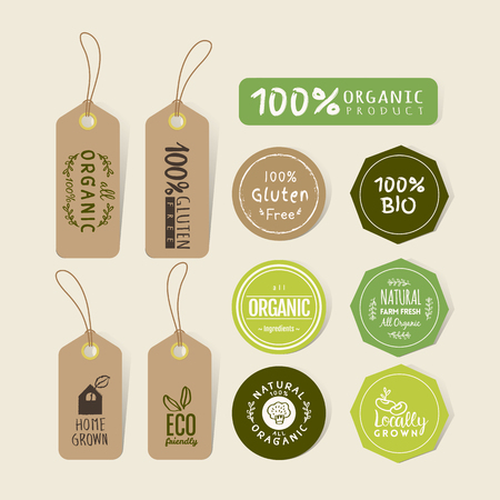 Illustration for Set of organic food tag and label sticker design elements - Royalty Free Image