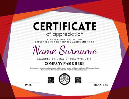 Illustration pour Modern certificate triangle background frame design template - image libre de droit