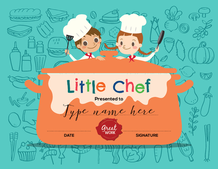 Illustrazione per Kids Cooking class certificate design template with little chef cartoon illustration - Immagini Royalty Free