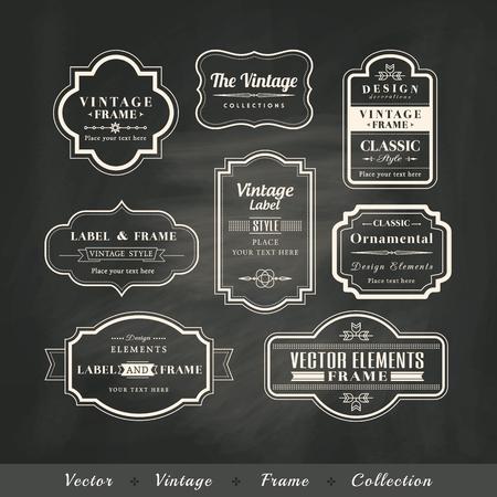 Photo pour vintage frame set on chalkboard retro background calligraphic design elements - image libre de droit