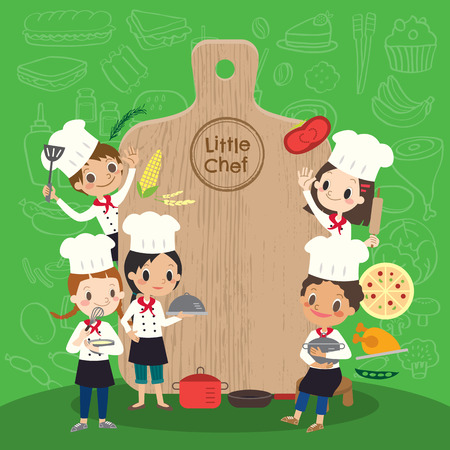 Illustration pour group of young chef with chopping block children kids cartoon illustration - image libre de droit