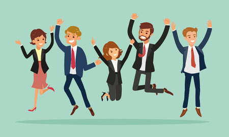 Illustrazione per business people jumping celebrating success vector cartoon illustration - Immagini Royalty Free