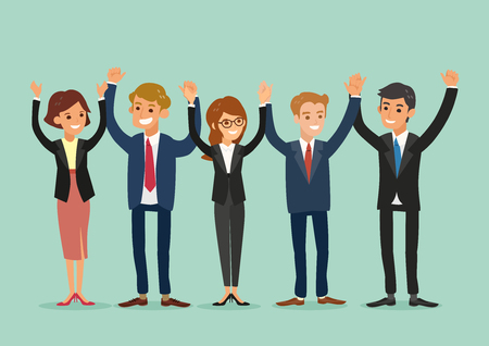 Illustration pour happy business team standing and holding hands together vector cartoon illustration - image libre de droit