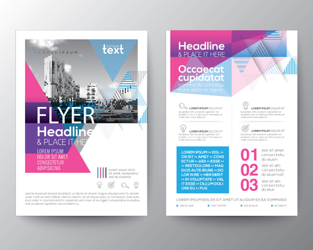 Ilustración de Abstract Blue and Pink geometric background for Poster Brochure Flyer design Layout vector template in A4 size - Imagen libre de derechos