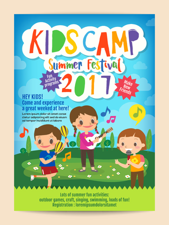 Illustration pour kids summer camp education advertising poster flyer template with illustration of children singing and playing music in background - image libre de droit