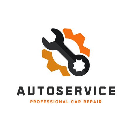 Illustration pour Service auto repair, wrench, logo sign flat - image libre de droit
