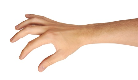 Photo for male hand and arm reaching for something isolated on white - Royalty Free Image