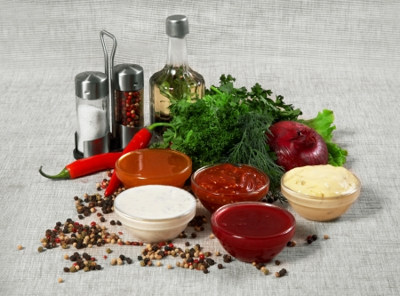 Assortment of sauces and spices