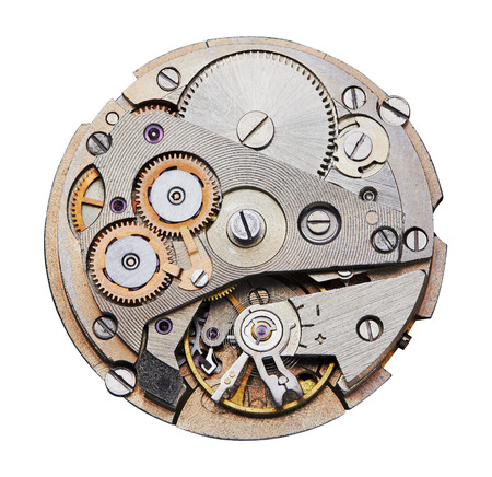 Photo pour Clock mechanism with gears, close-up. Isolated on white. - image libre de droit
