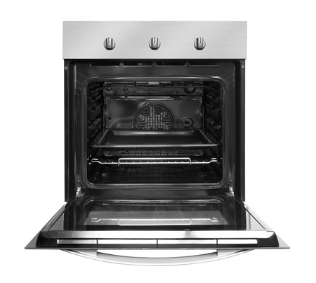 Photo pour Electric oven with open door, isolated on white background. - image libre de droit