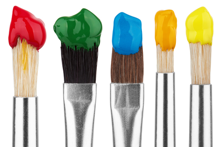 Photo pour Brushes with colorful paints, isolated on white background - image libre de droit