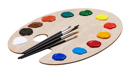 Photo pour Wooden art palette with paints and brushes, isolated on white background - image libre de droit