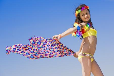 Photo pour Portrait of beautiful teenage girl with scarf. - image libre de droit