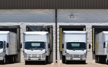 Photo for trucks at loading dock shipping industry - Royalty Free Image