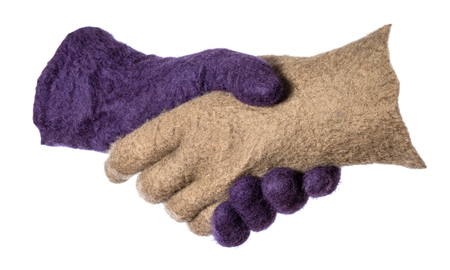 Photo for handshake of green and purple felted gloves isolated on white background - Royalty Free Image