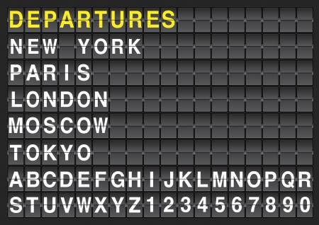 Ilustración de Set of letters on a mechanical timetable  - Imagen libre de derechos