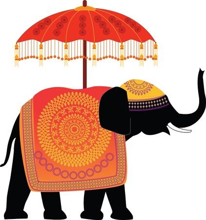 Decorated Indian Elephant with umbrella