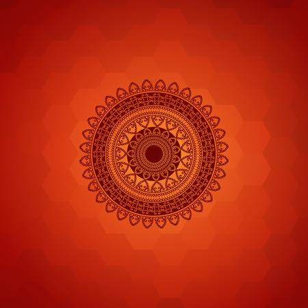 Ethnic  Colorful Henna Mandala design, on festive background