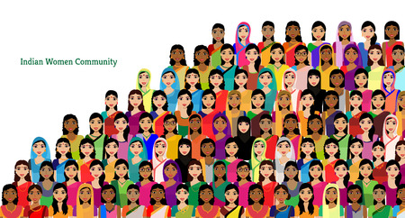 Ilustración de Big crowd of Indian women vector avatars - Indian woman representing different states/religions of India. Vector flat illustration of a crowd of women from diverse ethnic backgrounds - Imagen libre de derechos
