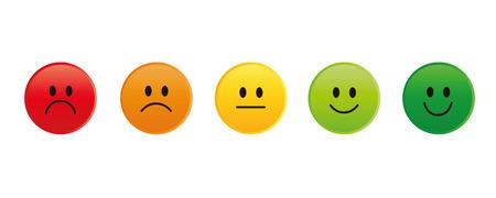 Illustration pour rating smiley faces red to green vector illustration EPS10 - image libre de droit