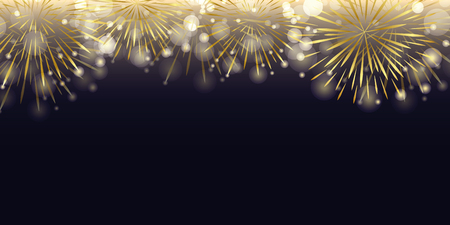 Illustration for golden firework in the dark night celebration vector illustration EPS10 - Royalty Free Image