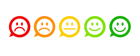 Illustrazione per rating satisfaction feedback in form of emotions excellent good normal bad awful speech bubble vector illustration - Immagini Royalty Free