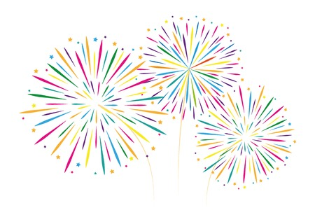 Illustration for new year colorful fireworks decoration isolated on white background vector illustration EPS10 - Royalty Free Image