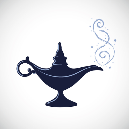 Illustrazione per blue magic aladdin miracle lamp vector illustration - Immagini Royalty Free