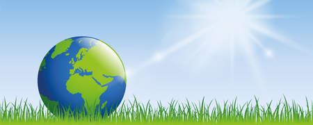 Illustration pour planet earth on green meadow with sunshine banner with copy space - image libre de droit