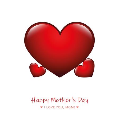 Ilustración de red heart mothers day design vector illustration - Imagen libre de derechos