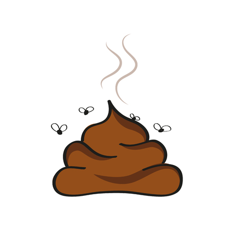 Illustration pour stinking poop icon with fly vector illustration - image libre de droit